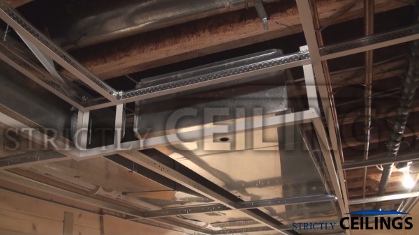 cover ductwork beams in basements building advanced ceiling drops