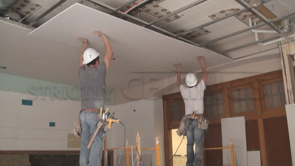 good install to ceiling photo how a sheetrock on hanging drywall ceilings installing of tub around