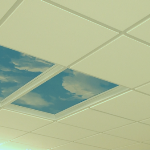 2x2 USG Mars Suspended Ceiling Tile #86785 w cloud light fixtures