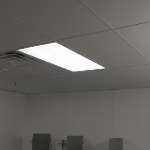 2x4 Clean room ceiling tile with vinyl laminated face in locker room