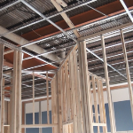 Pictures of a drywall suspended ceiling grid system