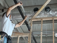 Installing drywall Suspension Grid